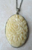 Huge Cream Rose Flower Cameo Style Pendant And Necklace.